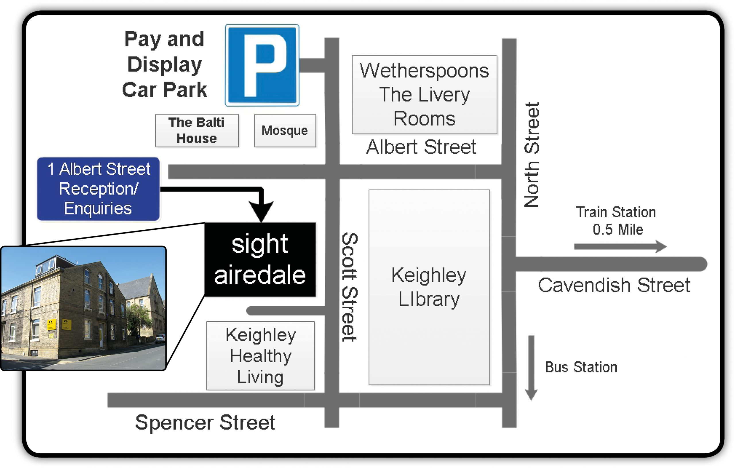 Map showing directions to our Keighley Office