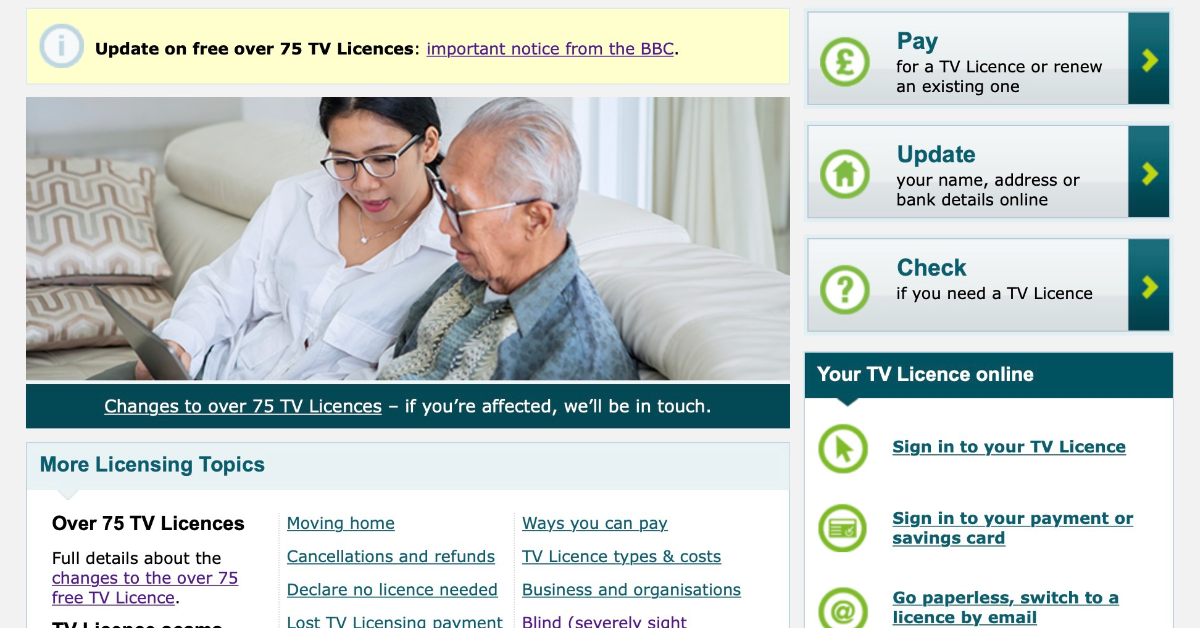Blind Persons TV Licence Concession
