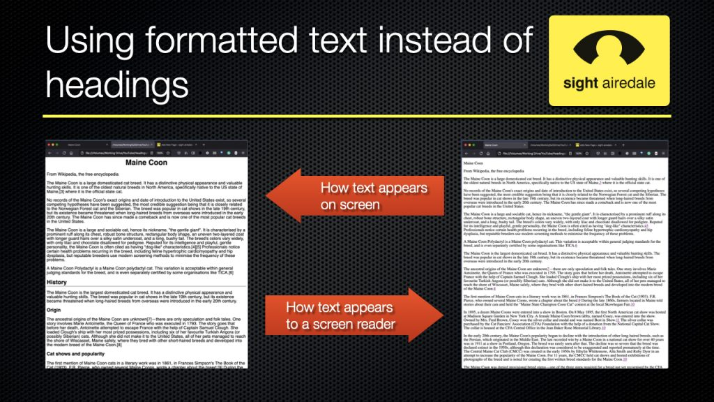 Slide showing document with what appear to be headings, and how a screen reader would see teh same document.